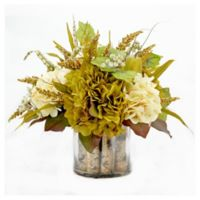 15-Inch Artificial Hydrangea and Heather in Cream/Green with Glass Vase
