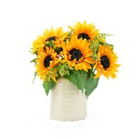 13-Inch Sunflowers with Ceramic Vase in Cream/Green