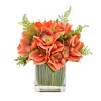 9-Inch Artificial Orchid Bouquet in Orange with Glass Vase
