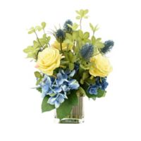 15-Inch Artificial Rose, Hydrangea, and Thistle Arrangement with Vase