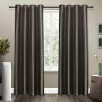 Shantung 84-Inch Grommet Room Darkening Window Curtain Panel Pair in Black Pearl