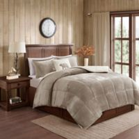 Woolrich Alton 100% Polyester 4 Piece Bedding Set in Taupe/ivory