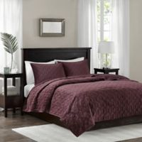 Madison Park Harper Velvet Full/Queen Coverlet Set in Purple