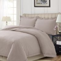Tribeca Living Solid Flannel Queen Duvet Cover Set in Oatmeal