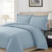 Tribeca Living Solid Flannel Queen Duvet Cover Set in Cloud Blue