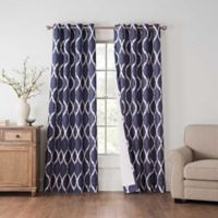 Draftblocker Easton Printed 108-Inch Grommet Room Darkening Window Curtain Panel in Blue