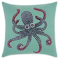 Mina Victory Octopus Indoor/Outdoor Square Throw Pillow in Aqua/Coral