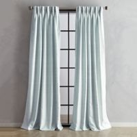 Sandstone 95-Inch Pinch Pleat/Back Tab Window Curtain Panel in Aqua