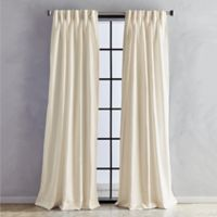 Sandstone 63-Inch Pinch Pleat/Back Tab Window Curtain Panel in Linen