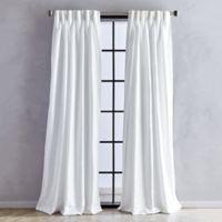 Sandstone 84-Inch Pinch Pleat/Back Tab Window Curtain Panel in White