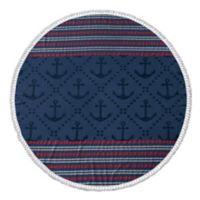 Enchante Home® Anchor Turkish Cotton Round Beach Towel in Navy