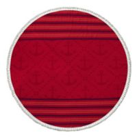 Enchante Home® Anchor Turkish Cotton Round Beach Towel in Red