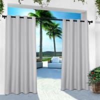 Solid Indoor/Outdoor Grommet 84-Inch Window Curtain Panel Pair in Cloud Grey