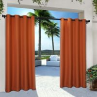 Solid Indoor/Outdoor Grommet 84-Inch Window Curtain Panel Pair in Orange