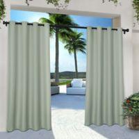 Solid Indoor/Outdoor Grommet 84-Inch Window Curtain Panel Pair in Seafoam