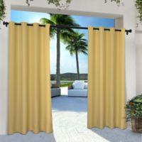 Solid Indoor/Outdoor Grommet 84-Inch Window Curtain Panel Pair in Yellow