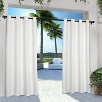 Solid Indoor/Outdoor Grommet 84-Inch Window Curtain Panel Pair in Winter White