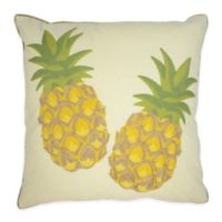 Embroidered Pineapple Square Throw Pillows in White/Yellow (Set of 2)