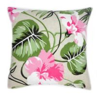 Embroidered Hibiscus Square Throw Pillow in Natural/Green