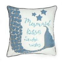 Mermaid Kiss Square Throw Pillow in White/Blue