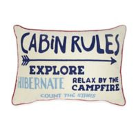 Cabin Rules Typography Oblong Throw Pillow in White/Blue
