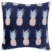 Berkshire Blanket Pineapple Square Throw Pillow in Navy/Yellow