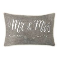 "Edie @ Home ""Mr. & Mrs."" Oblong Throw Pillow in Grey"