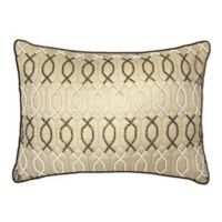 Edie@Home Lattice Beaded Oblong Throw Pillow in Oyster