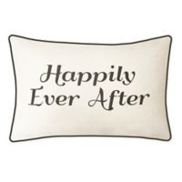 "Edie @ Home ""Happily Ever After"" Oblong Throw Pillow in Cream/Black"