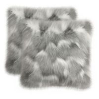 Oliver Brown Vera Faux Fur Square Throw Pillows in Grey (Set of 2)
