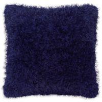 Laura Ashley® Claudia Plush Shag Square Throw Pillow in Indigo