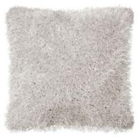 Laura Ashley® Claudia Plush Shag Square Throw Pillow in Light Grey