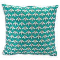Bees Verdigrin Square Throw Pillow in Green