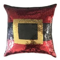 Home Accents Santa Two-Tone Sequin Square Throw Pillow in Red