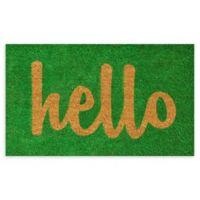 """Calloway Mills Script Hello 17"""" x 29"""" Coir Door Mat in Green/Natural"""