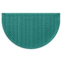 "Weather Guard™ Chevrons 24"" x 39"" Half Oval Door Mat in Aquamarine"