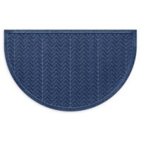 "Weather Guard™ Chevrons 24"" x 39"" Half Oval Door Mat in Navy"