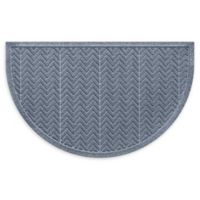 "Weather Guard™ Chevrons 24"" x 39"" Half Oval Door Mat in Bluestone"