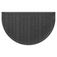 "Weather Guard™ Chevrons 24"" x 39"" Half Oval Door Mat in Charcoal"