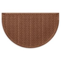 "Weather Guard™ Chevrons 24"" x 39"" Half Oval Door Mat in Dark Brown"