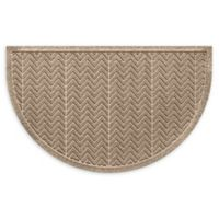 "Weather Guard™ Chevrons 24"" x 39"" Half Oval Door Mat in Camel"
