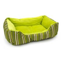 Striped Cushion Crate Pet Bed in Green