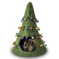 Holiday Tree Wool Pet Cave in Green