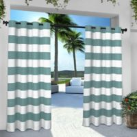 Striped 84-Inch Grommet Indoor/Outdoor Window Curtain Panel Pair in Teal