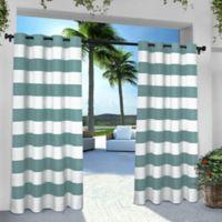 Striped 84-Inch Grommet Indoor/Outdoor Window Curtain Panel Pair in Teal