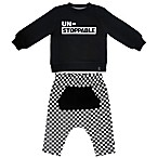Mini Heroes™ Size 3M 2-Piece Unstoppable Check Shirt and Pant Set in Black