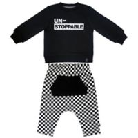 Mini Heroes™ Size 12M 2-Piece Unstoppable Check Shirt and Pant Set in Black