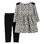 carter's® Size 6M 2-Piece Cheetah Print Legging and Dress Set in Heather