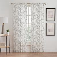 Stella 84-Inch Sheer Rod Pocket Window Curtain Panel in White/Black