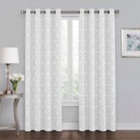 Quinn Geo 108-Inch Grommet 100% Blackout Window Curtain Panel in Silver